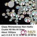 Ss3-ss50 Strass Todos Los Tamaños Mezclados Crystal AB 1050 unids Nails Art Crystal Hotfix Rhinestones Flatback Pegamento de Cristal Diamantes DIY