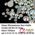 Strass All Sizes ss3-ss50 Mixed Crystal AB 1050pcs Non Hotfix Nails Art Crystal Rhinestones Flatback Glue On Glass Diamonds DIY