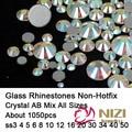 Strass All Sizes ss3-ss50 Mixed Crystal AB 1050pcs Non Hotfix Nails Art Crystal Rhinestones Flatback Glue On Glass Diamonds DIY
