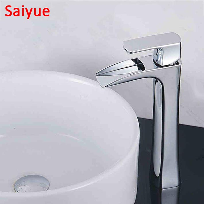 High Chrome Waterfall Bathroom Basin Sink Vanity Faucet Deck Mounted Mixer Tap with Widespread mouth, hot and cold water kraan luxury chrome brass bathroom basin faucet vanity sink mixer tap deck mounted hot