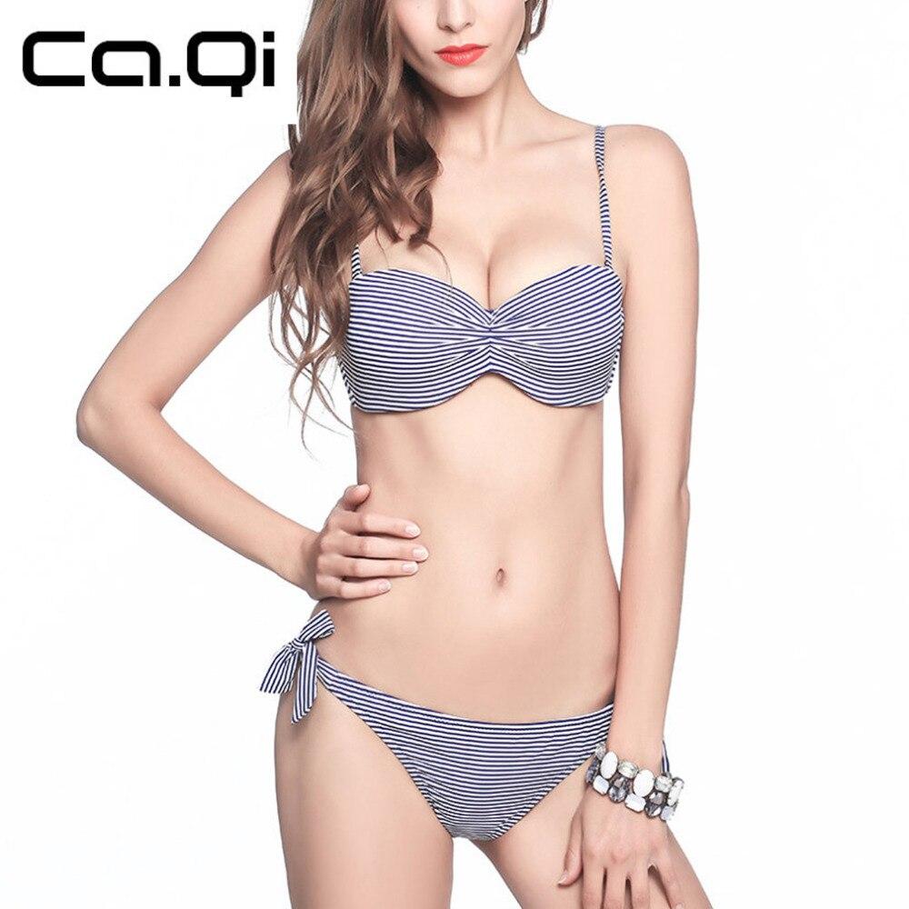 beceb3687c25 striped bowknot stile sexy donna bikini costume da bagno della signora costumi  da bagno di nuoto