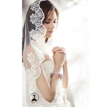 2019 Cathedra Lace Bridal Veil With Comb 3*1.5 Meter Long Bride Wedding Veil Lace Edge 1 Layer Wedding Veil  Wedding Accessories