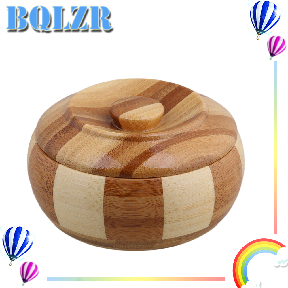 BQLZR 11mm Wood Color Bamboo Striated Cigarette Ashtray Cigar Ashe Tray Holder