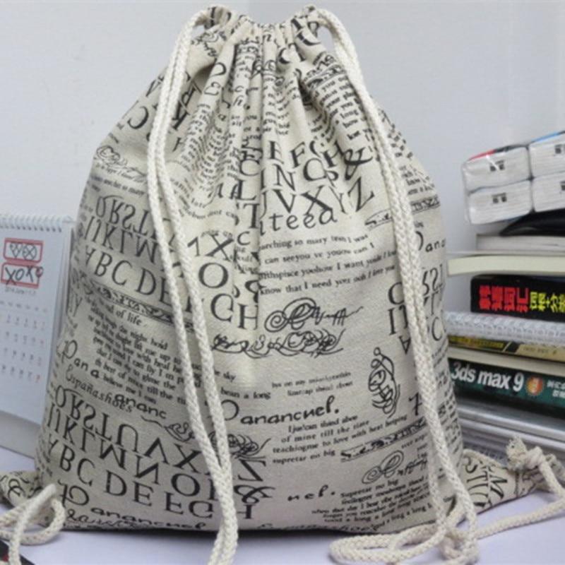 YILE Cotton Linen Drawstring Backpack Student Book Shoe Bag English Newspaper 614e