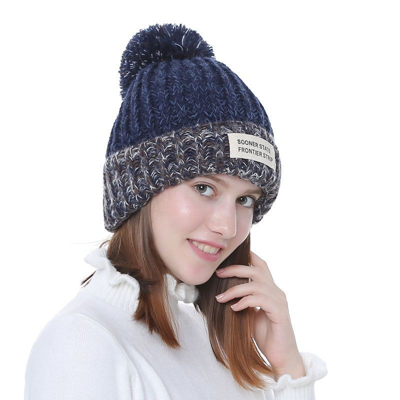 32ec77fc16ee2 Knitted Women Beanies With Pompon Winter Female Beanie Casual Hats ...