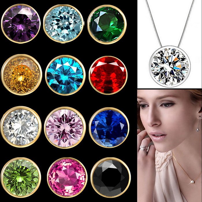 New 12 months birthstone cz crystal choker gold necklace for Women s minimalist jewelry