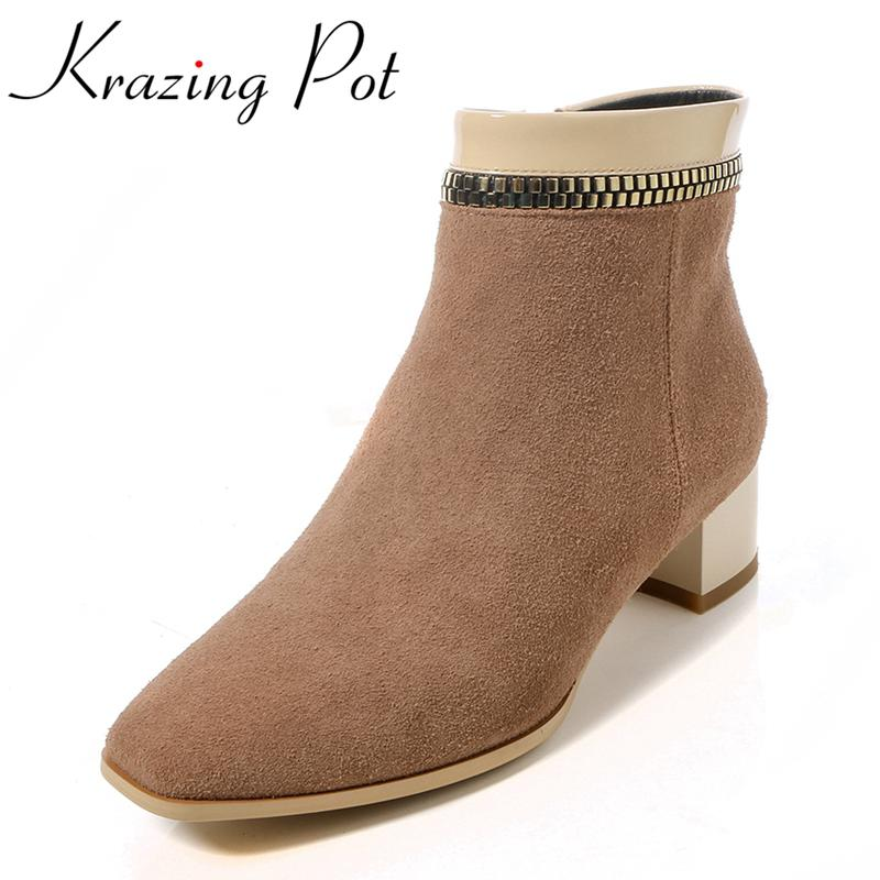 Krazing Pot 2018 genuine leather fashion boots thick heel winter shoes chelsea boots zipper runway classic women ankle boots L17 2017 new genuine leather platform brand shoes increased thick extreme high heel women ankle boots solid classic zip chelsea boot