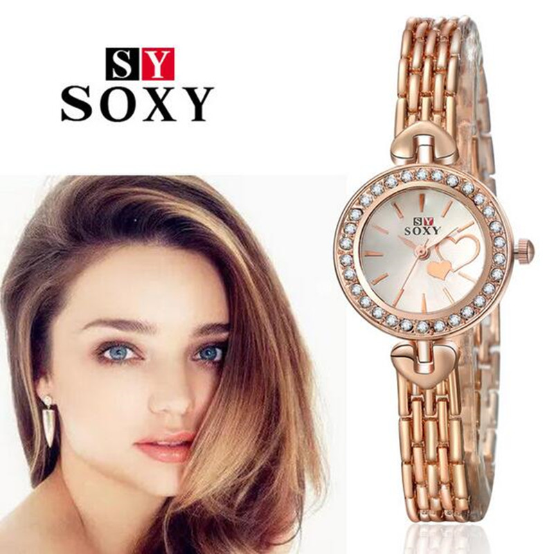 New Fashion 2016 Luxury Brand Rose Gold Rhinestone Watches Women Dress Wristwatches Ladies Stainless Steel Bracelet Watch AC064 low price direct sale din rail smps mdr 60 12 mdr series 12v 5a 60w ce switching power supply for led strip light lamp