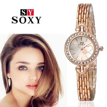 цены New Fashion 2016 Luxury Brand Rose Gold Rhinestone Watches Women Dress Wristwatches Ladies Stainless Steel Bracelet Watch AC064