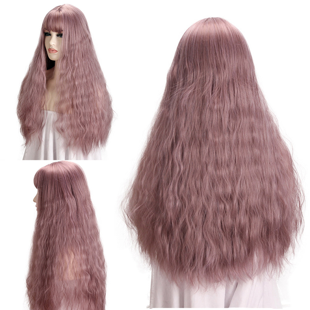 Hair Care Wig Stands High Temperature Fiber Wig Pink Long Mix Heat Resistant Kinky Curly Wigs For Women 60cm Dec26