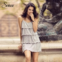 Women Summer Sweet Layered Dress V Neck Backless Strap Ruffles Female Mini Dress Elegant Sexy Short Evening Party Beach Sundress