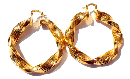 Тяжелая большая витая Желтое золото GF женские серьги-кольца безусловная пожизненная Гарантия Замены