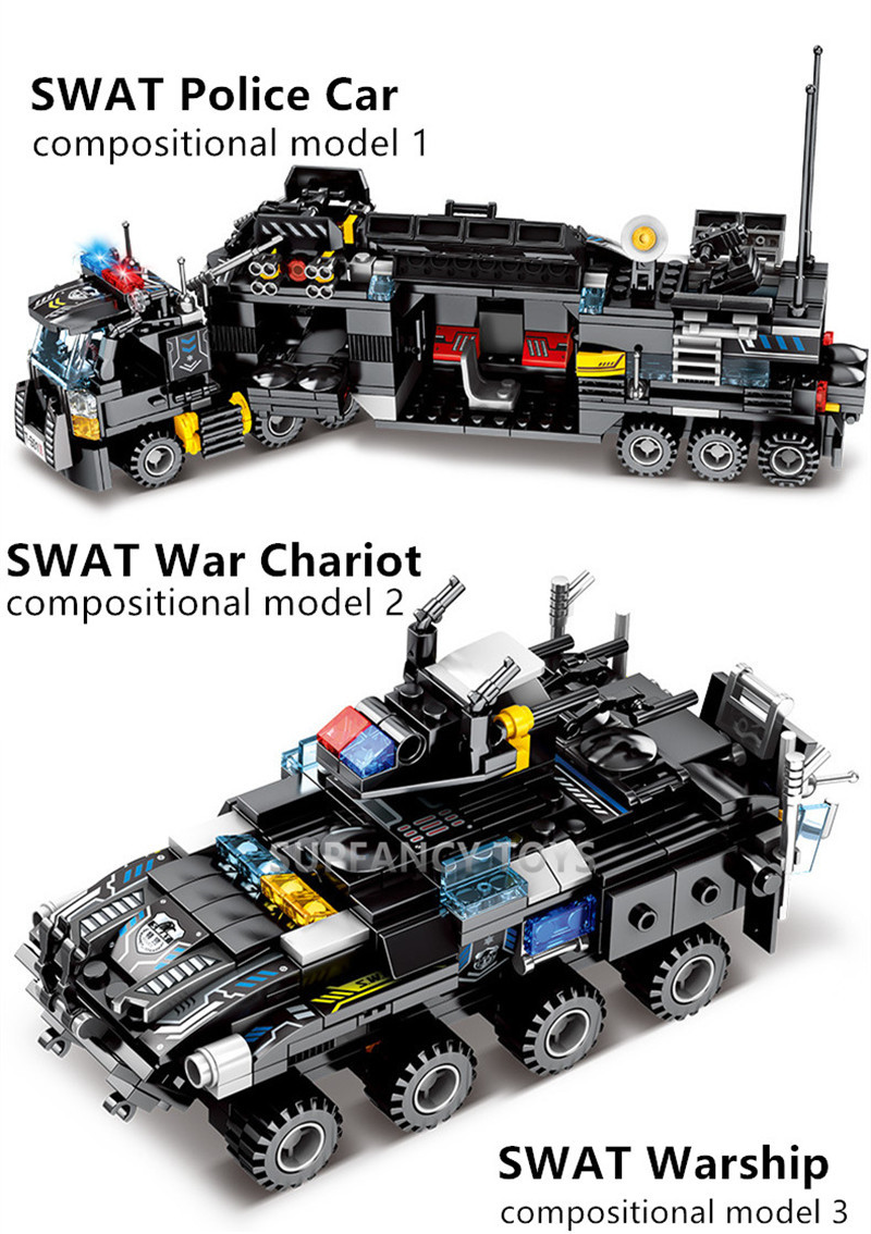 549 PCS Bricks Compatible with Lego inFUNity SWAT Police Truck Armored Tactical Transport Vehicle Building Blocks