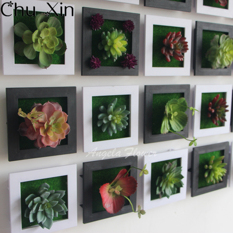 Black Creative 3d Metope Succulent Plants Imitation Wood Photo Frame Wall Decoration Artificial Flowers Home Decor