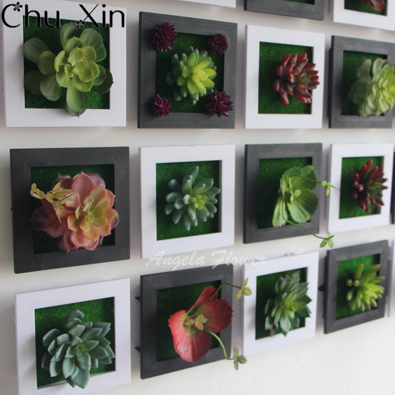 Preto 3D Criativo metope plantas suculentas Imitação de madeira da foto da parede quadro decoração de flores artificiais decoração de casa sala de estar(China (Mainland))