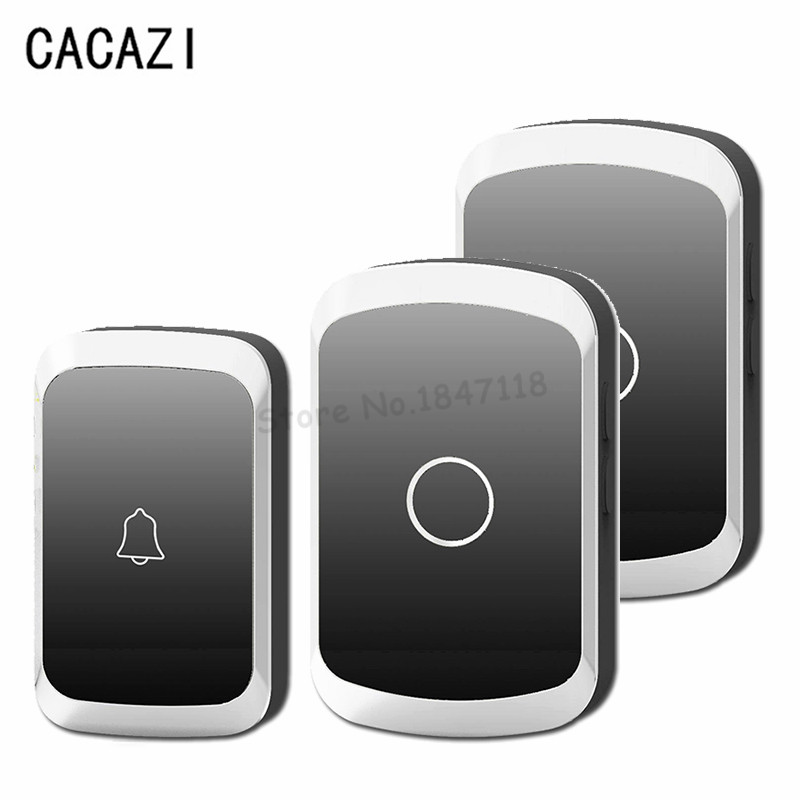 CACAZI EU/US/UK Plug Wireless Door Bell Waterproof AC110-220V 300M Remote DoorBell 36 Melody 1/2 Push Button+1/2 Ring Receivers free shipping eu us uk plug in waterproof electric doorbell 220v wireless door bell 28 melody doorbell button 2 receiver 2v2