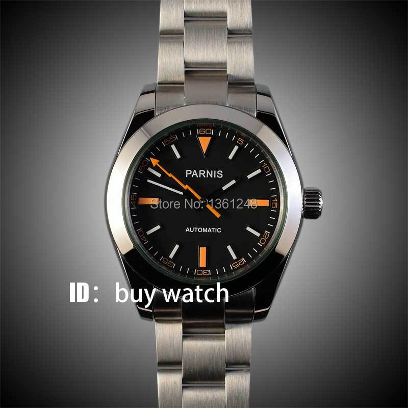 40mm parnis black dial orange marks automatic sapphire glass date window 316L stainless steel mens watch 158 40mm parnis black dial date widnow stainless steel strap vintage automatic movement mens watch p24