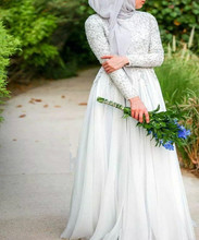 2017 Arabic Long Wedding Dresses With Hijab Elegant High Collar Long Sleeve Robe De Soiree Beading Muslim Chiffon Bridal Dress