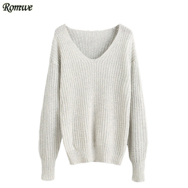 ROMWE Womens Casual Sweaters 2016 Ladies Autumn Light Grey V Neck Long Sleeve Drop Shoulder Loose Pullover Sweater