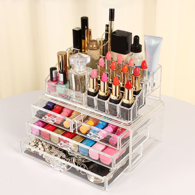 Acrylic Makeup Storage Case Nail Polish Rack Lipstick Cosmetic Storage Box Holder Makeup Organizer Brush Holder Display Stand цена