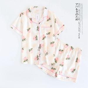 Image 4 - Ensemble pyjama dété imprimé feuilles de palmier, col rétro, taille élastique avec bouton, vêtements de nuit pour femme, ensemble décontracté