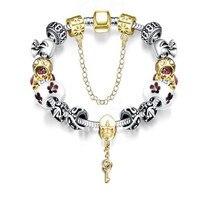Fashion Pulseras Key Charm Bracelet Silver Plated Glass Beads Bracelets for Women Christmas Gifts