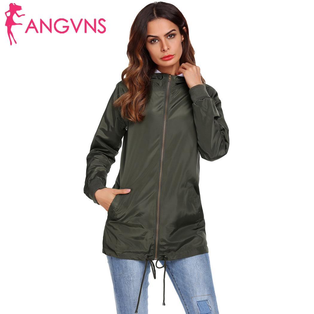 176cm Waist 86cm Autumn 93cm Hip Front-Zip Casual Women Sleeve Spring Hooded Long Lightweight 61cm Height Bust Jacket
