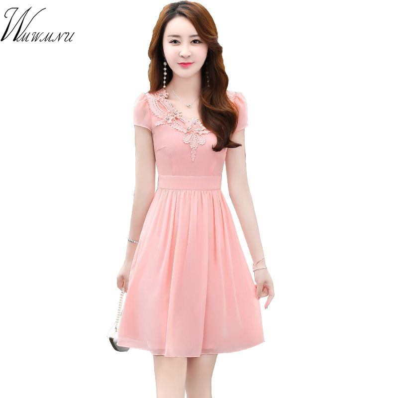 Ausschnitt stickerei Elegante Einfarbig Kleid Sommer Casual Oansatz kurzarm büro kleid A-line Plus Größe Weibliche Vestidos