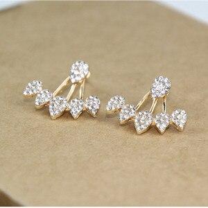 Женские серьги-пусеты, двусторонние серьги золотого цвета с кристаллами e0123
