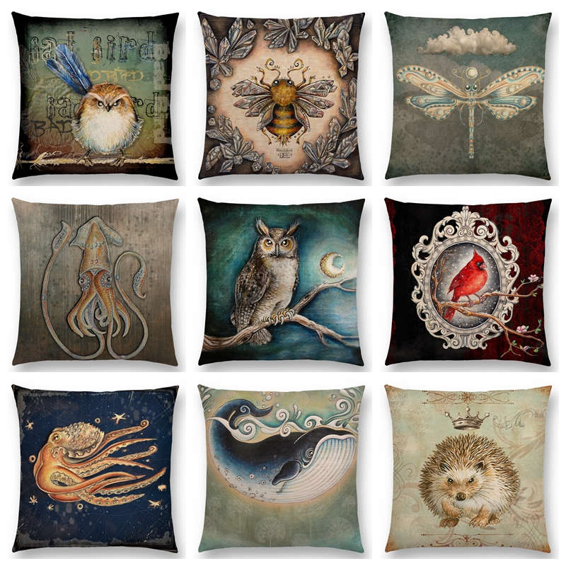 Table & Sofa Linens Confident Hot Sale Classic Retro Magical Animals Cool Bird Blue Whale Hedgehog Moonlight Owl Bat Bee Octopus Cushion Sofa Throw Pillow And To Have A Long Life.