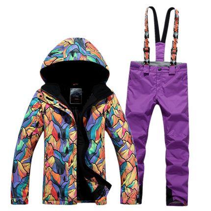 GSOU SNOW combinaison de Ski femme simple Double planche extérieur épais chaud imperméable veste de Ski + pantalon de Ski taille XS-L - 4