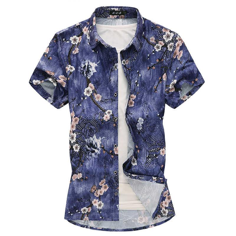 新メンズ半袖シャツ古典的な花のシャツの男性大サイズ 7XL ファッションカジュアル男性ビーチシャツ高品質