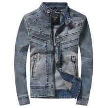 Повседневное тонкая джинсовая куртка с капюшоном Мужские, знаменитый бренд со стоячим воротником Для мужчин s Модные пальто ветровка M-XXXL