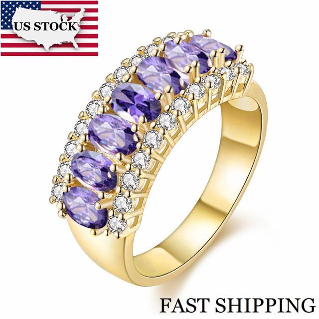 05729f2921ea STOCK 15% Color oro matrimonio gran hembra púrpura anillo de dedo con cristales  joyería de