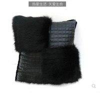 45x45cm Imitation Fox Fur Cushion Cover Imitation Leather Pillow case Decorative Pillow cover sofa Home Decor