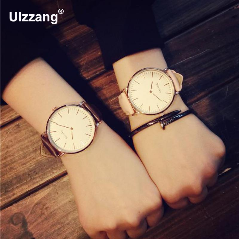 2017 Casual Rose Gold Genuine Leather Quartz Dress Business Wrist Watch Wristwatches Clock for Men Women Black Brown White classic ulzzang brand vintage genuine leather women men lovers quartz wrist watch gift black white brown