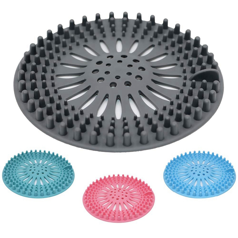 Hair Catcher Shower Drain Cover, 4 Pack Hair Stopper Drain Protector Universal Rubber Sink Strainer For Bathtub Kitchen And Ba