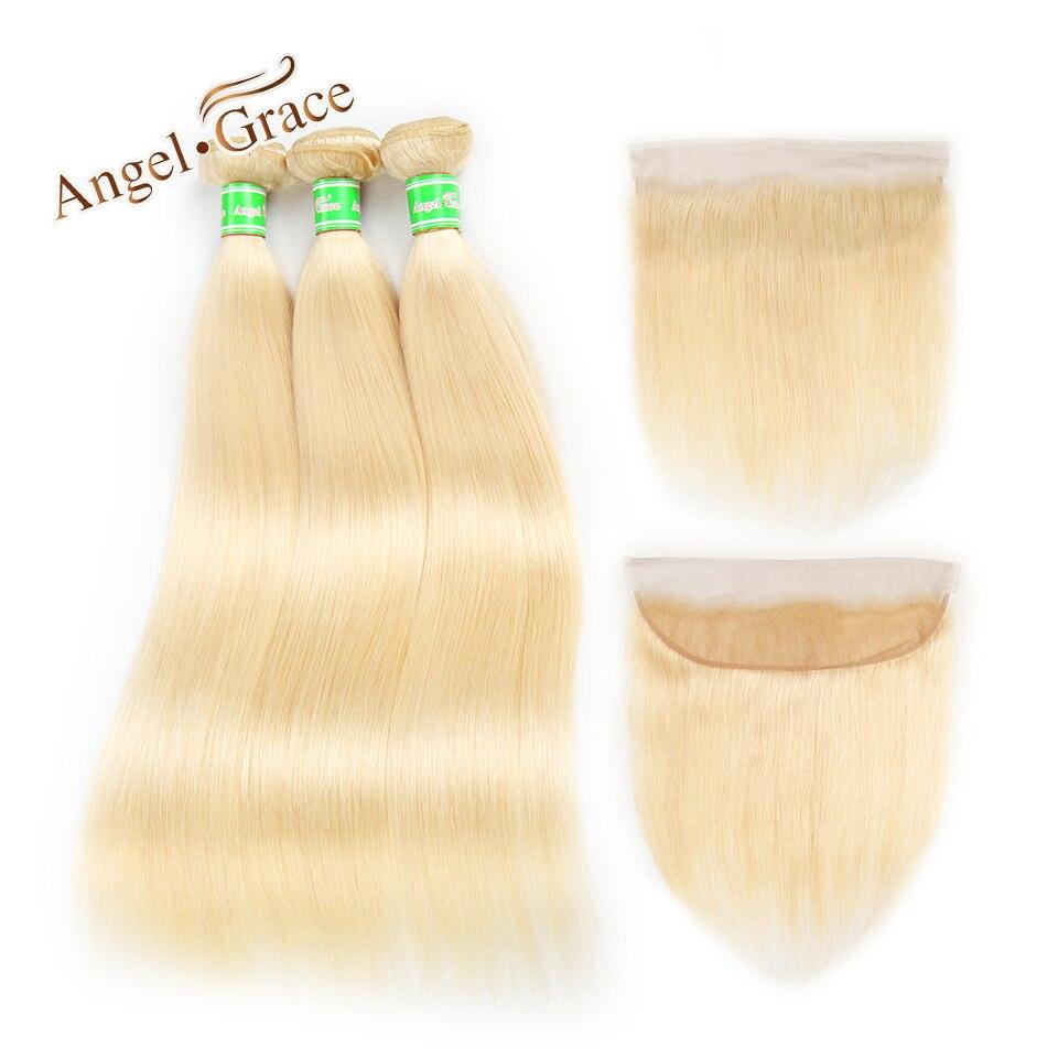 Ангел благодати 613 блондинка пучки с фронтальной закрытие перуанский прямые волосы 3 Связки с фронтальной 100% Remy натуральные волосы расширен