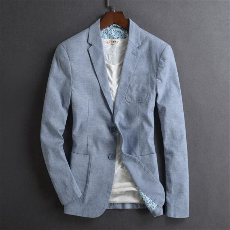 Men'S Blazer Outerwear Plus Size 4Xl Casual Thin Male 2019 New Arrival Spring Summer Linen Buckle Suit A5377