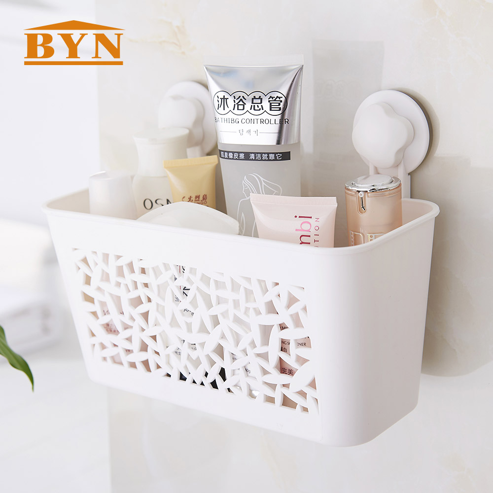 Plastic removable bath shelf wall mounted cosmetic holder storage - Byn Plastic Bathroom Shampoo Drain Suction Shelf Wall Mounted Kitchen Spice Storage Sucker Toothpaste Toothbrush