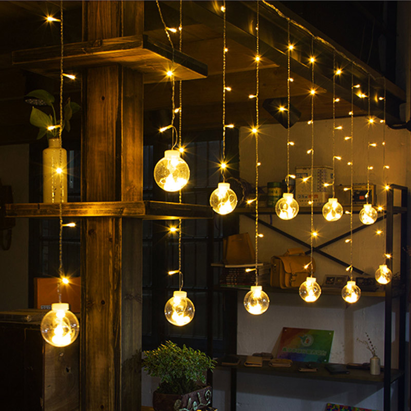 Us 18 75 25 Off 3m Globe Led Garland Starry Crystal Wishing Ball String Lights Decors For Curtains Bedroom Living Room Balcony Christmas Wedding In