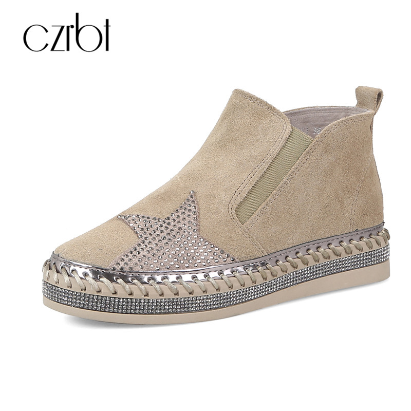 CZRBT New Arrival Fashion Women Shoes Cow Suede Leather Crystal Casual Flats Women Round Toe Slip On Flat Heel Shoes Size 35-40 new round toe slip on women loafers fashion bow patent leather women flat shoes ladies casual flats big size 34 43 women oxfords