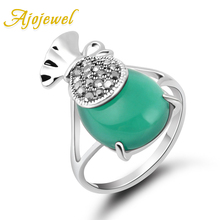 Ajojewel Unique Designer Green Jewelry Antique Rings For Women Chinese Style Blessing Bag Ring With Stone