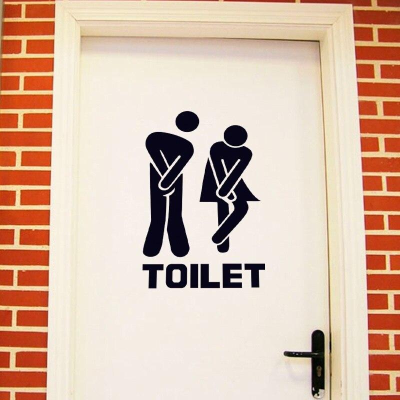 Знак входа в Туалет Наклейка виниловая для магазина Office для дома кафе туалет для отеля ванная комната стены Дверь украшения весело обои нов...