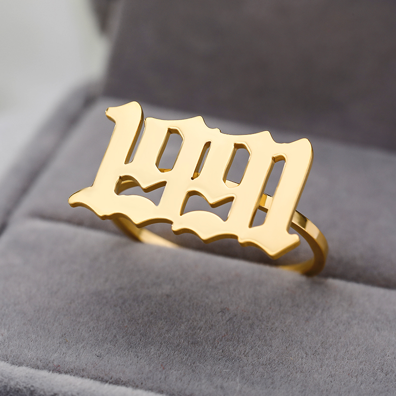 Personalized Old English Number Ring Custom Year Birth Date Resizable Rings For Women Men Jewelry 1989-2019 Bridesmaid Gift