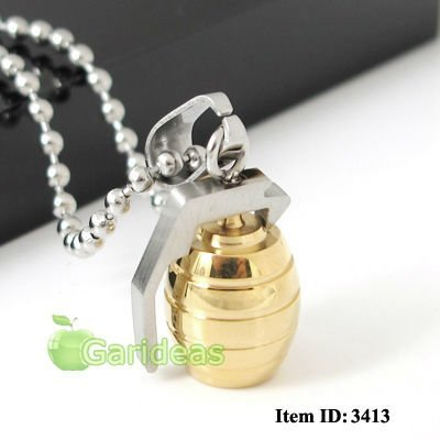 Free shipping +Wholesale Stainless Steel Gold&Silver Grenade Chain Pendant Necklace  Cool Gift New Hot Item ID:3413