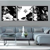 2015 Luxury Oil Painting 3 Piece Oil Painting On Canvas Abstract Flower And Butterfly Living Room