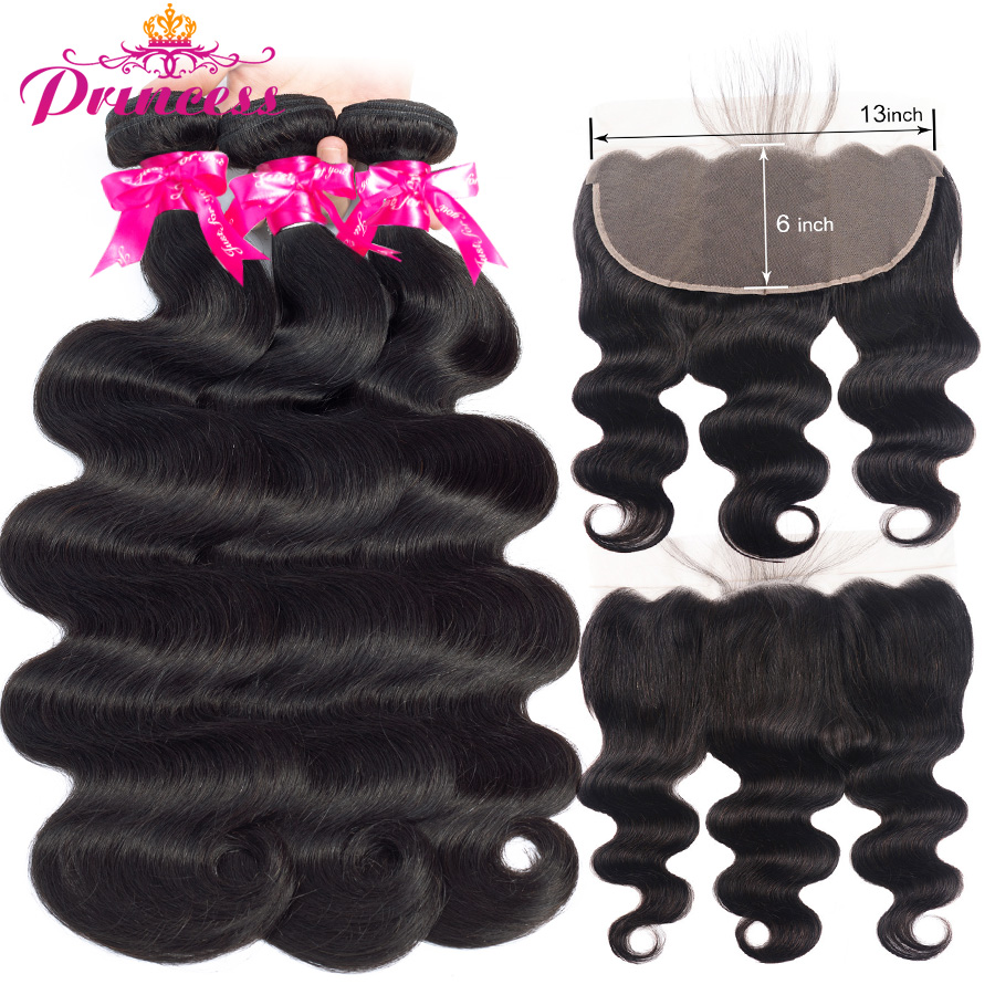 Hermoso pelo de princesa 13x6 cierre Frontal de malla con mechones extensiones de cabello humano brasileño ondulado con encaje Frontal Remy