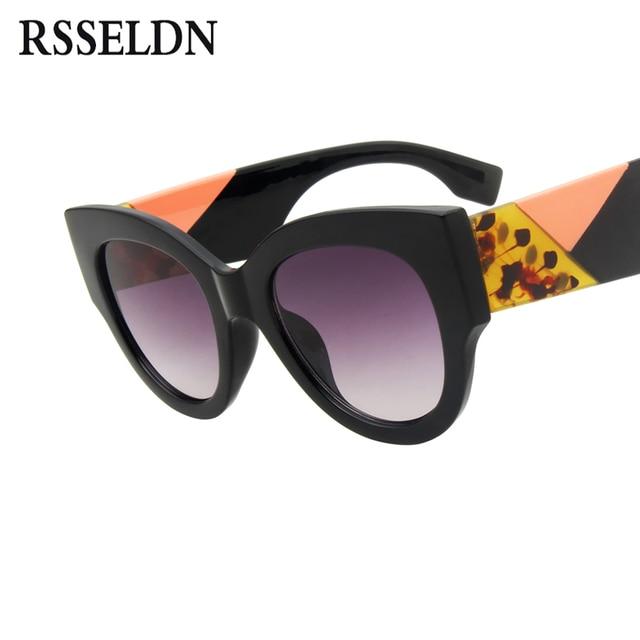 dc9977cf4 RSSELDN Women Round Sunglasses 2018 Brand Designer Vintage Oversized Black  Pink Thick Frame Cat Eye Sun Glasses For Women UV400
