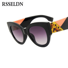 32b4e48b3e RSSELDN Femmes lunettes de Soleil Rondes 2019 Marque Designer Vintage  Surdimensionné Noir Rose Épais Cadre Cat Eye Lunettes de S..